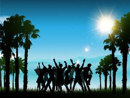 Gente de fiesta en un paisaje tropical.