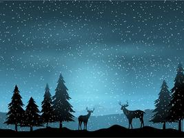 Deer in winter landscape  vector