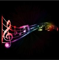 Neon music notes background vector