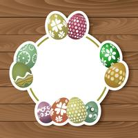 Easter eggs on wood background