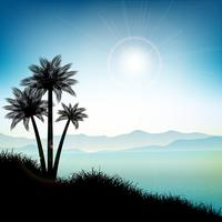 Summer landscape with palm trees vector