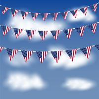 American flag bunting in a blue sky