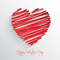 Scribble heart background  vector