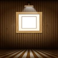 Wooden picture frame in grunge interior vector