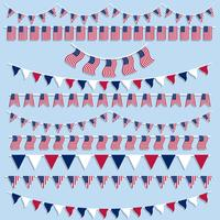 American flags bunting and banners vector