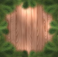 Christmas tree branches on wood vector