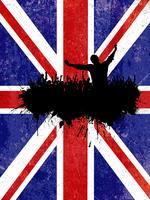 Grunge party background with Union Jack flag