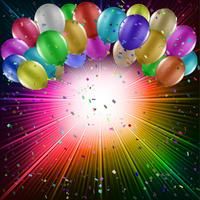 Ballonnen op een starburst achtergrond