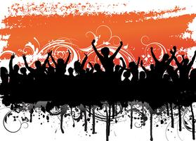 Grunge crowd scene vector