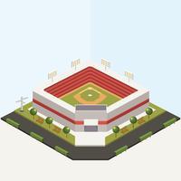 Diseño isométrico del vector del parque de béisbol
