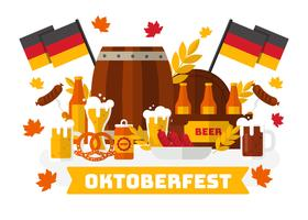 Oktoberfest With Bavarian Food Vector.
