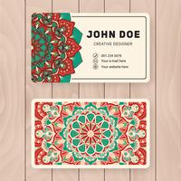 Creative useful business name card design. Vintage colored Manda