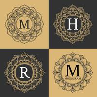 Monogram circle frame vintage luxury style. Elegant circle frame