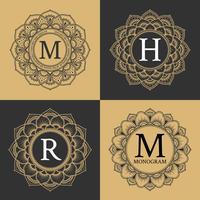 Monogram circle frame vintage luxury style. Elegant circle frame