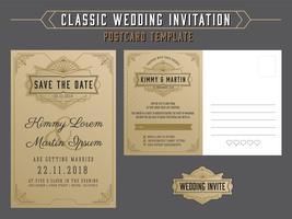 Vintage elegant wedding invitation template and rsvp postcard st vector