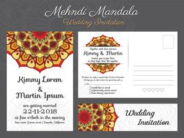 Classic vintage wedding invitation card design with beautiful Ma vector