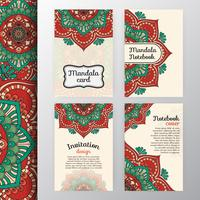 Ensemble d'invitation vintage et design de fond avec Mandala dec