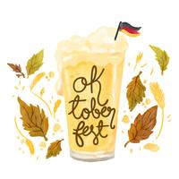 Cute Beer Glass With German Flag To Oktoberfest vector