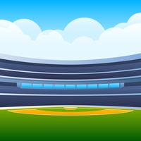 Baseball Field With Bright Stadium Vector Illustration