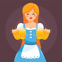 Lady In Dirndl With Beer Vector