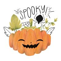 Spooky Pumpkin With Spider And Leaves
