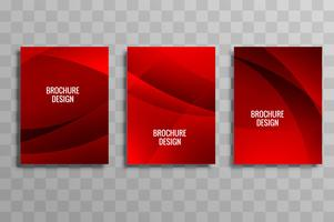 Modern red wavy business brochure template set vector