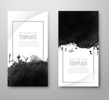 Abstract black grunge banners set vector