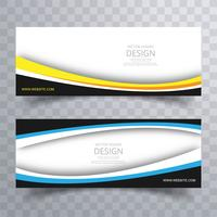 Abstract creative coloful wavy banners set