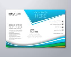 Modern wavy business brochure template wave design