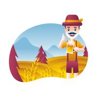 Man In Lederhosen Vector