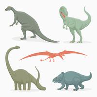 Insieme realistico di vettore del dinosauro