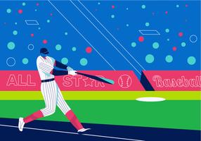 Baseball Player Playing On Field Vector Flat Background Illustration