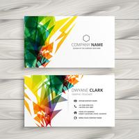 business card design with abstract colorful shapes