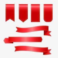 conjunto de cintas rojas y etiquetas