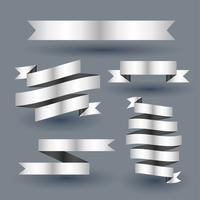 glänsande silverband banner set
