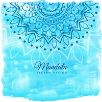 blue watercolor background with mandala art