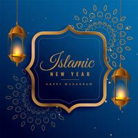 design créatif nouvel an islamique avec des lanternes suspendues