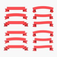 set of flat red ribbons