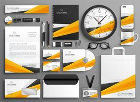 abstract yellow business stationery set