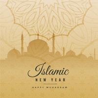 saludo de año nuevo islámico en estilo vintage