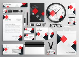creative business stationery collateral set in red theme