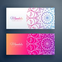 set of colorful mandala banners