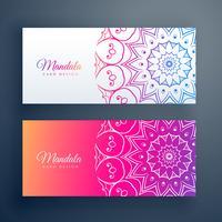 set of colorful mandala banners