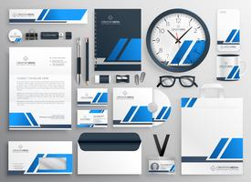 professional blue business collateral stationery set
