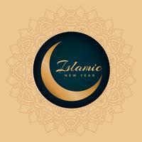 Fond de nouvel an islamique avec l'art de la lune et du mandala