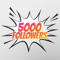 5000 Follower-Erfolgsvorlage in Comic-Stil