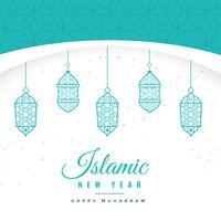 hermoso fondo islámico de año nuevo con linternas colgantes