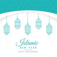 beautiful islamic new year background with hanging lanterns