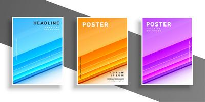 three color modern cover design template or flyer