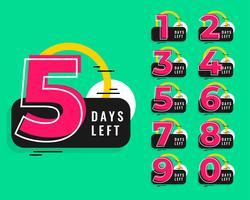 aantal resterende dagen ontwerp in memphis-stijl